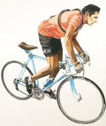Fausto Coppi drawn by Claudio Pesci
