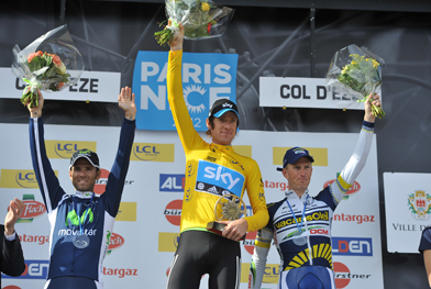 Paris-Nice podium (l to r) Alejandro Valverde, Bradley Wiggins, Lieuwe Westra (image courtesy of Paris-Nice website)