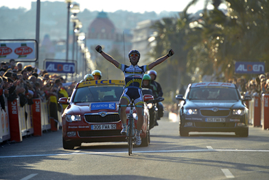 Thomas de Gendt wins stage 7 Paris-Nice (image courtesy of Paris-Nice website)