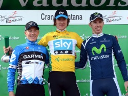 Romandie 2012 podium with Bradley looking more and more comfortable in yellow (image courtesy of Sky)