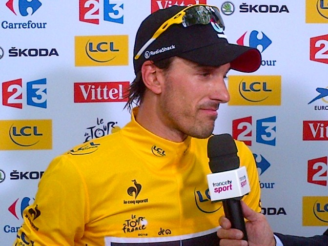 Cancellara in the first yellow jersey of 2012. Quelle surprise. Not (image courtesy of RadioShack-Nissan)
