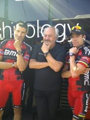 George in company of BMC team owner Andy Rihs and Cadel Evans (image courtesy of George Hincapie)