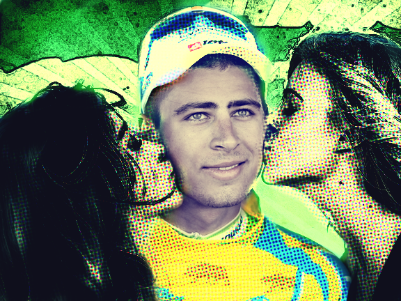 Sagan is becoming increasingly accustomed to the attentions of the podium girls (image by Panache)