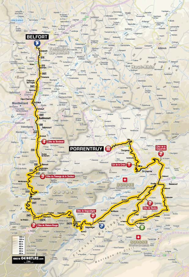 TdF 2012 Stage 8 map
