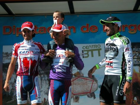 Vuelta a Burgos 2011 podium l to r Dani Moreno, Joaquim and Pablo Rodriguez, Juan Jose Cobo (image courtesy of official race site)