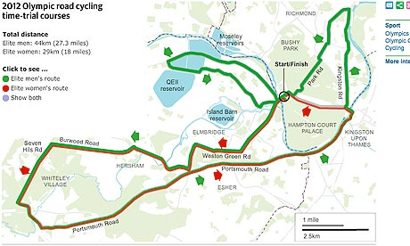 The route of the 2012 Olympic Time-Trial