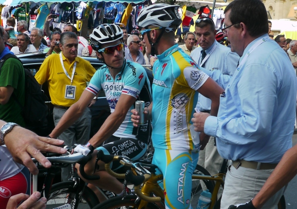 Clasica San Sebastian 2012: UCI officials calculating the size of Alex's fine for a non-approved shirt