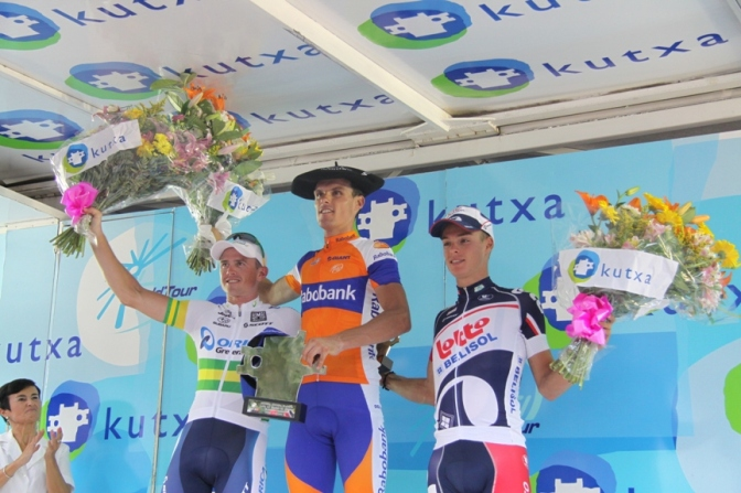 Clasica San Sebastian 2012 podium l to r Gerrans, Sanchez and Meersman