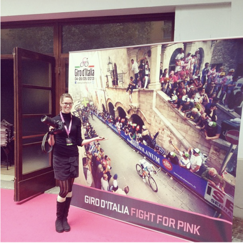 Ashley in front of her picture at Giro 2013 presentation