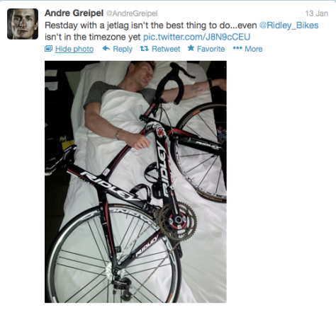 Greipel sleeping with bike