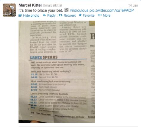 Kittel Lance bets