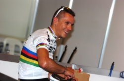 Philippe Gilbert will be looking to break his rainbow duck (image: BMC)