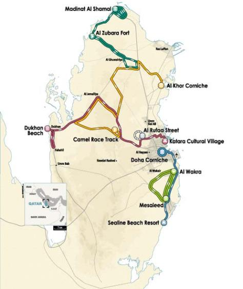 Route Map Tour of Qatar 2013 (image courtesy of official race site)