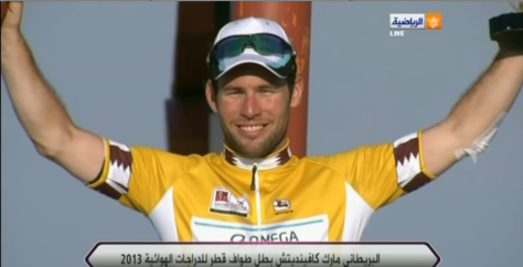 Cav victorious in Qatar (image coutesy of Omega Pharma-Quick Step)