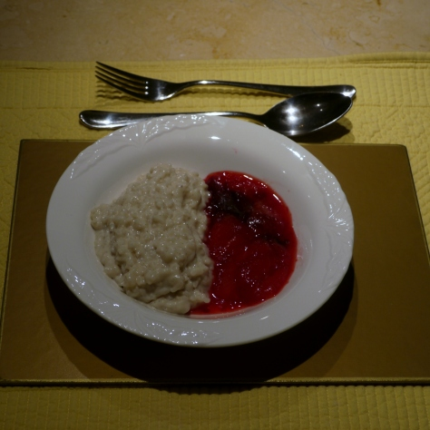 A fitting end to a meal, lactose-free rice pudding with spiced plum compote