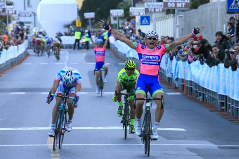 Pozzato wins in Laigueglia from 4-man final break (image courtesy of Lampre-Merida)