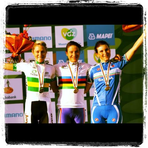 Ladies podium from Valkenburg 2012, Elisa's on the far right (image courtesy of Elisa Longo Borghini)