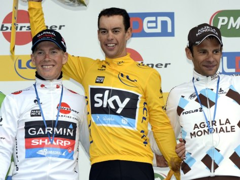 The podium l to r Talansky, Porte, Peraud (image courtesy of Sky)