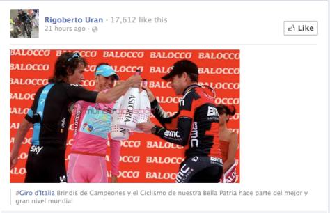 Giro champagne toasting