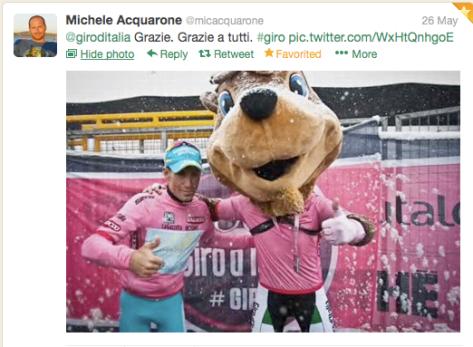 Giro Nibali with mascot