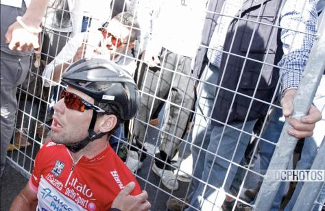 Giro Stage 13 exhausted Cav CREDIT DAVIDE CALABRESI