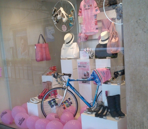 Every and I do mean every shop in Brescia had a window display paying tribute to the Giro (image: Sheree)