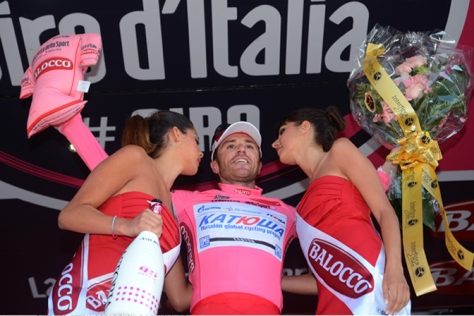 A belated Giro debut for Paolini was rewarded with a stage win and four days in pink (Image: Katusha)