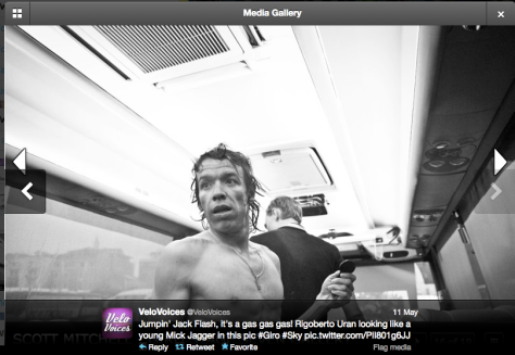 Mick Jagger masquerading as Rigoberto Uran (that IS right, isn't it?!?)
