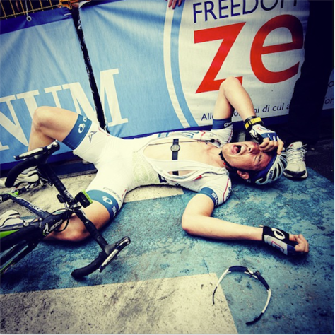 An exhausted John Degenkolb after wining stage 5 (Image: Jered Gruber)