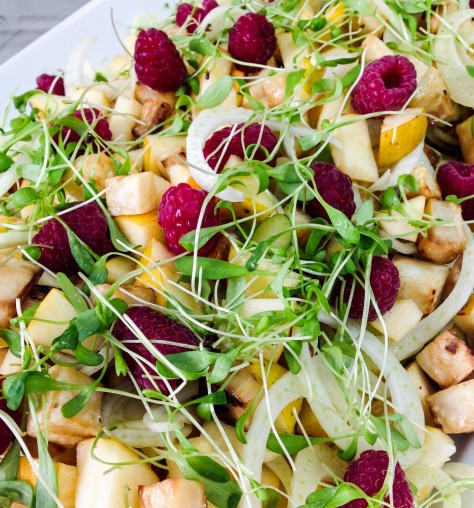 raspberry apple onion watercress salad