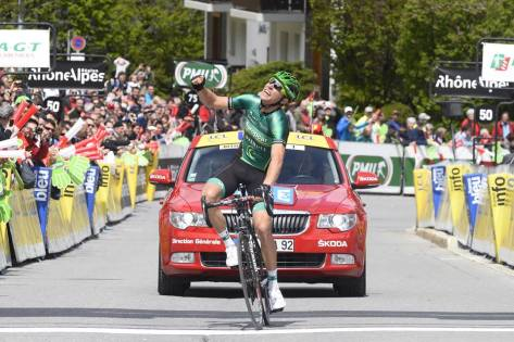 After 188km in front it sure feels good to cross the line first! (image: Europcar)