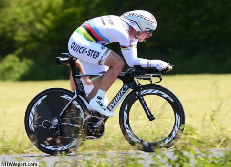 Looking imperious in his all white rainbow striped skin suit (image: OPQS)