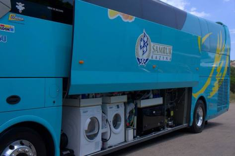 Gotta keep those baby blue kits clean (image: Astana)