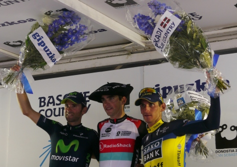 The podium from l to r Alejandro Valverde, the winner Tony Gallopin and Roman Kreuziger (image: Richard Whatley)