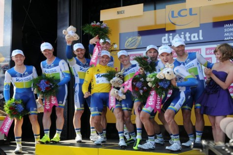 Orica-GreenEDGE celebrate their TTT win (Image: P Perreve)