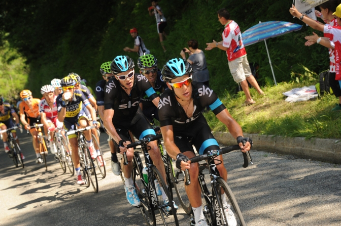 The tempo set by Porte (first in line) broke all Froome's rivals to set up an impressive one-two finish (Image: ASO)