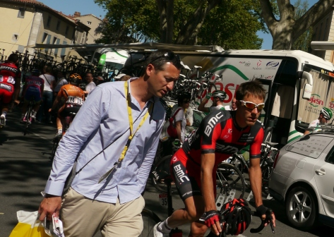 Quick interview before the start with BMC Amael Moinard (image: Sheree)