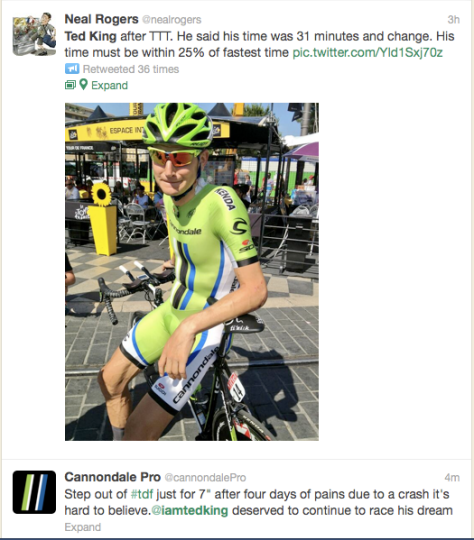 Ted King tweet TdF