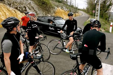 Anton with Rapha Travel clients (image: Rapha)