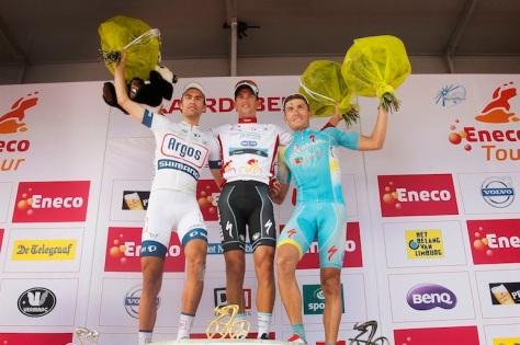 The podium l to r Dumoulin, Stybar, Grivko (image: Argos Shimano)
