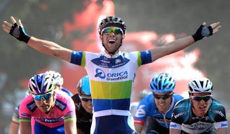 Matthews was an early wearer of the points jersey (image: La Vuelta)