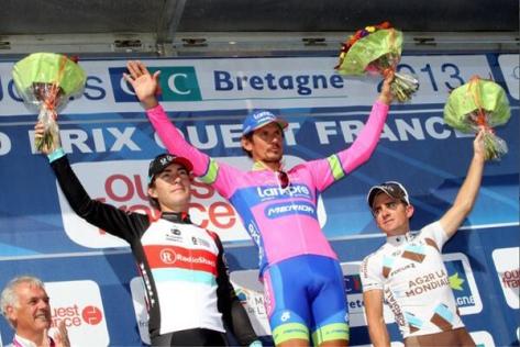 Podium l to r Nizzolo, Pozzato, Dumoulin (image: Lampre-Merida)