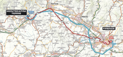 The route of the trade team time-trials