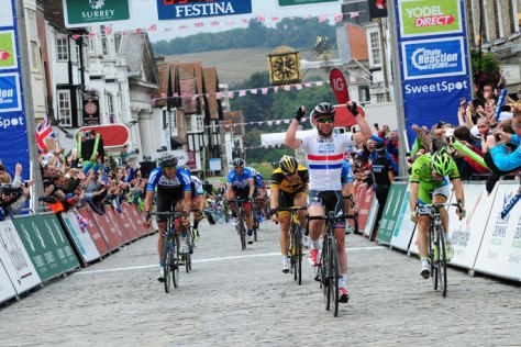Cavendish celebrates victory in Guildford, his second of three wins at the Tour of Britain (Image: Tour of Britain)