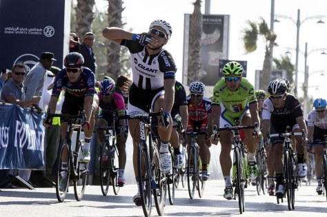 Marcel Kittel blows us a kiss in the first of his 3 stage wins (Image: Dubai Tour)