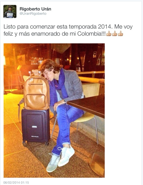 Jagger on his suitcase