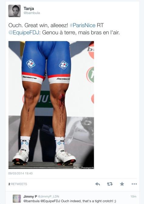 Bouhanni knee scrape