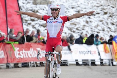 Purito does his Angel of the North impression as he crosses the finish line (image: Katusha)