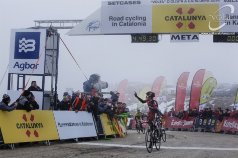The fod parted and there was Tejay, winner of stage four (image: Volta a Catalunya)