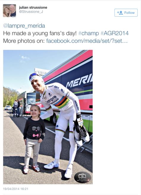 AG pre-race Costa fan